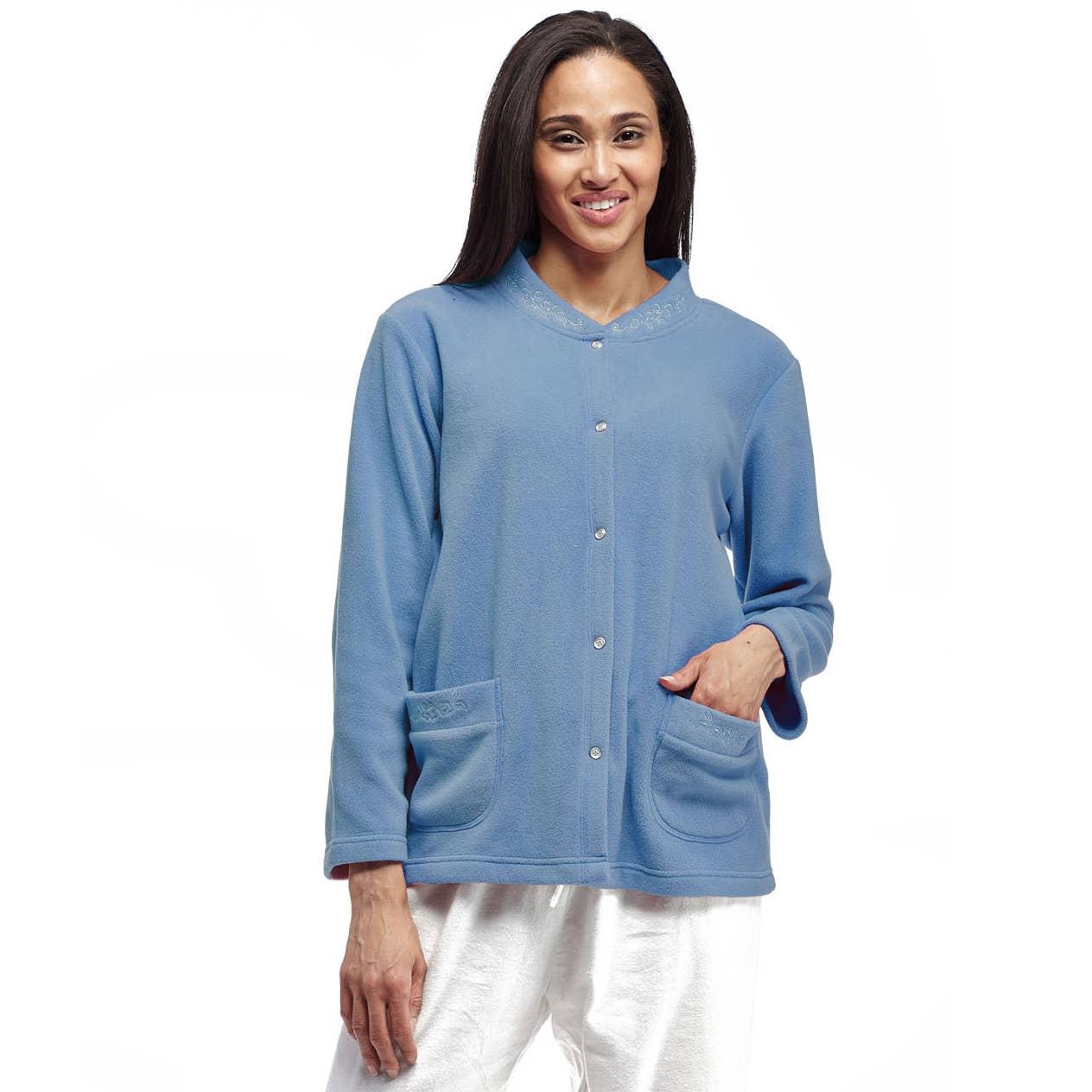 La Cera Women/'s Pink Roses Bed Jacket Polyester Fleece Button Front Jacket