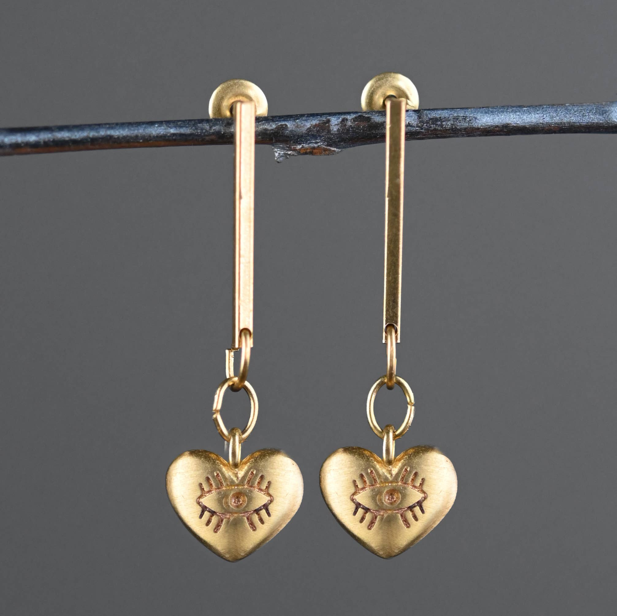 Handmade Coral Clay Dangle and Drop Brass Earrings with Brass Bars