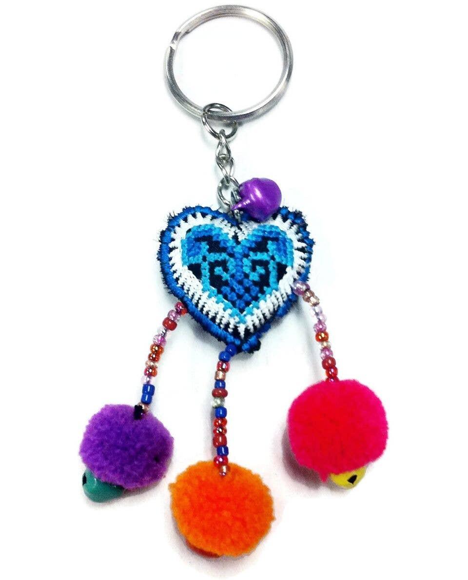 Hearts wPom Pom Zipper Pull