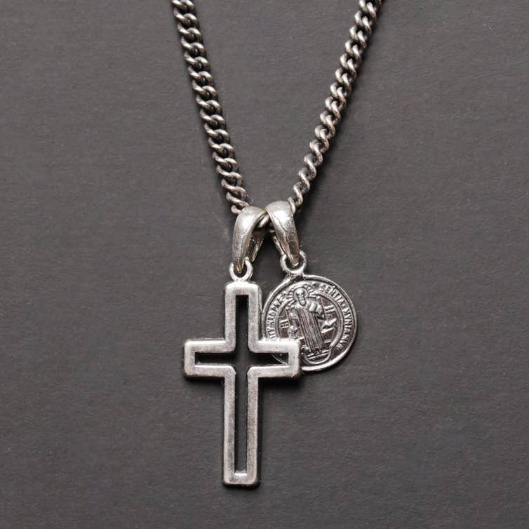 Sterling Mens St Michael Stacked Set .925 Sterling Silver Medal Crucifix WITH Heavy Sterling Chain