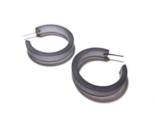 Dark Grey Tiny Secretary Lucite Hoop Earrings