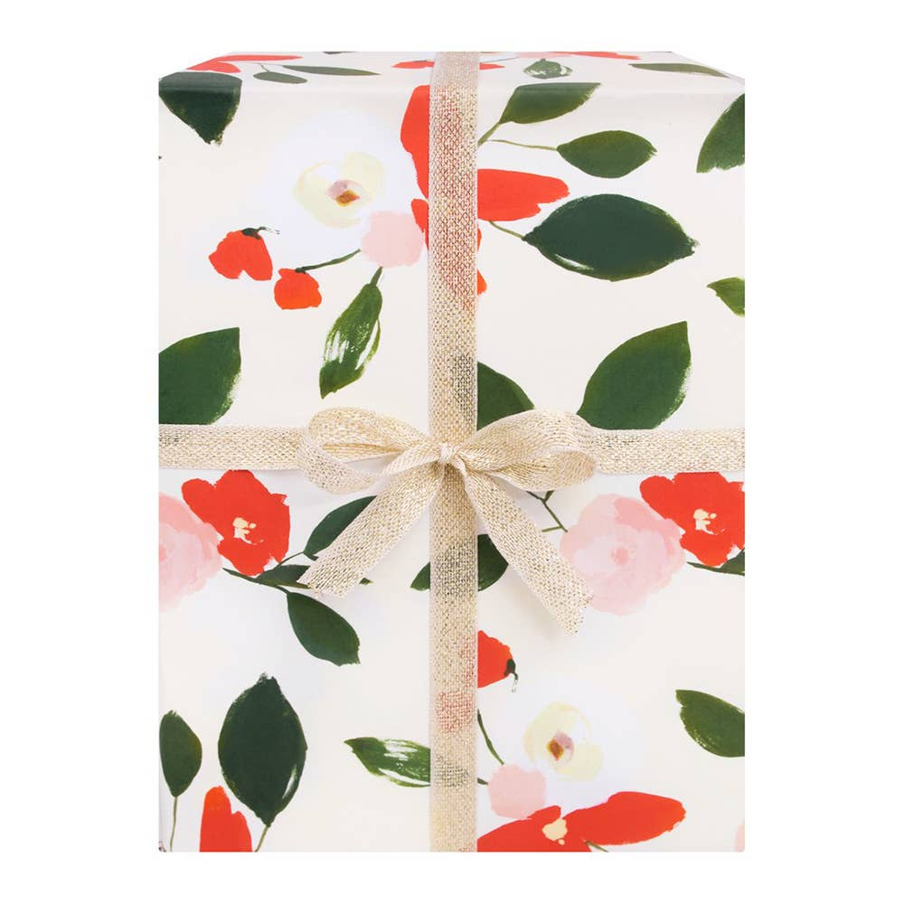 JODDS LUXURY SPRING FLOWER GIFTWRAP 2 sheets with matching mini card gift tags
