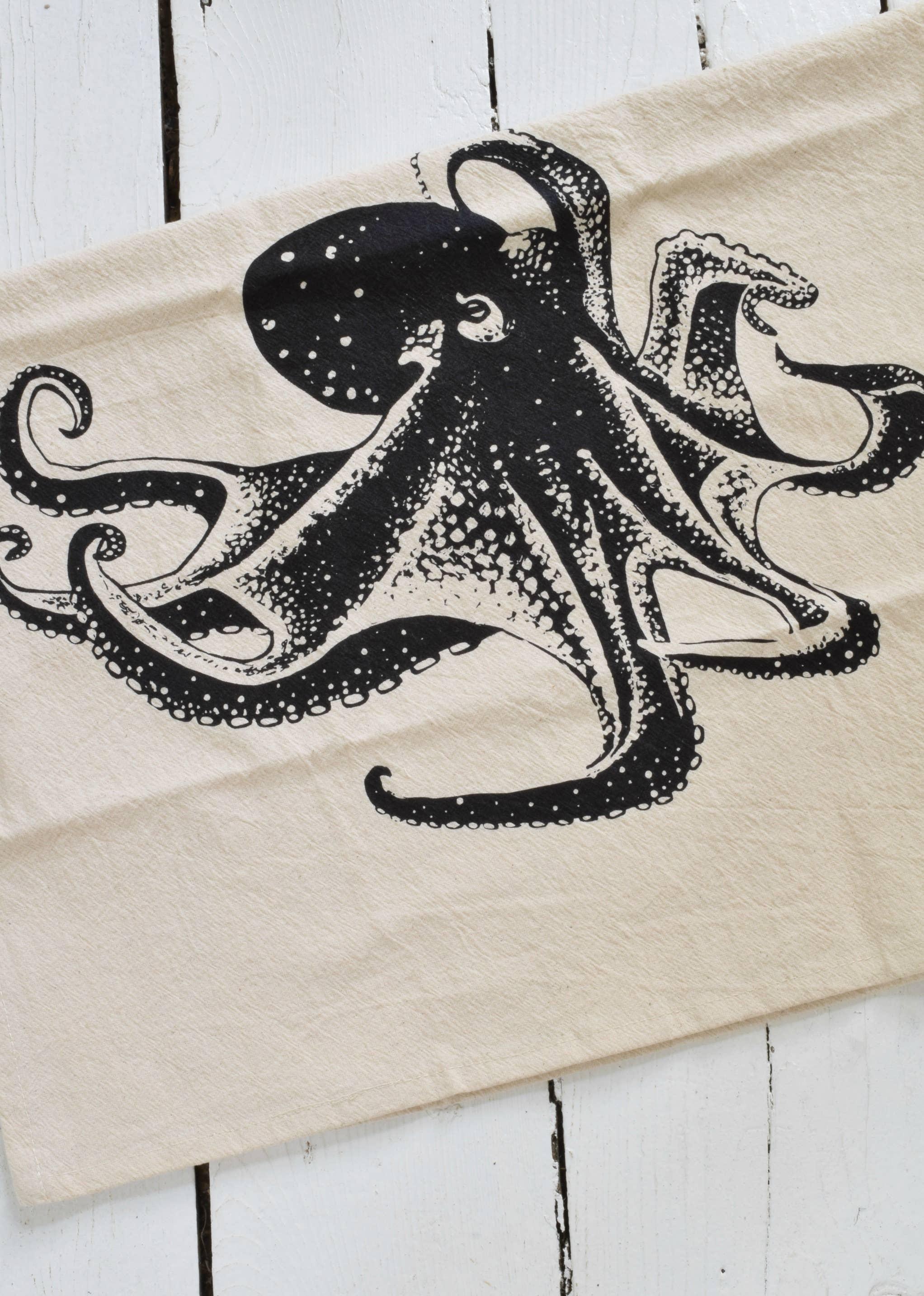Set of 4 Organic Cotton Octopus Napkins in Black