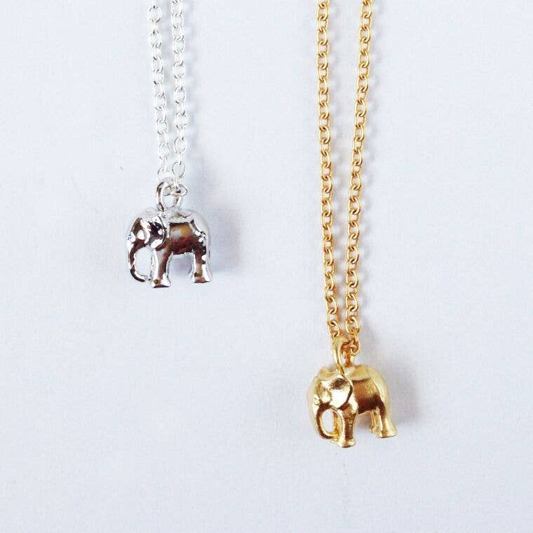 Baby Elephant Necklace Small Necklace Gold Elephant Necklace Love Elephant Necklace Tiny Elephant Kawaii Elephant Matte Gold Necklace