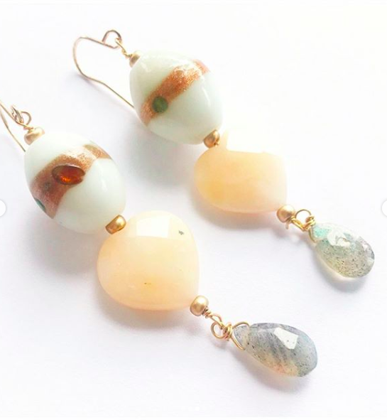 striped shell /& vintage crystal Earring and necklace set handmade
