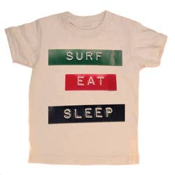 The surfer's motto, it's a good life. 100% organic cotton. Natural. Soft and comfy tag less apparel. Designed in Venice California.