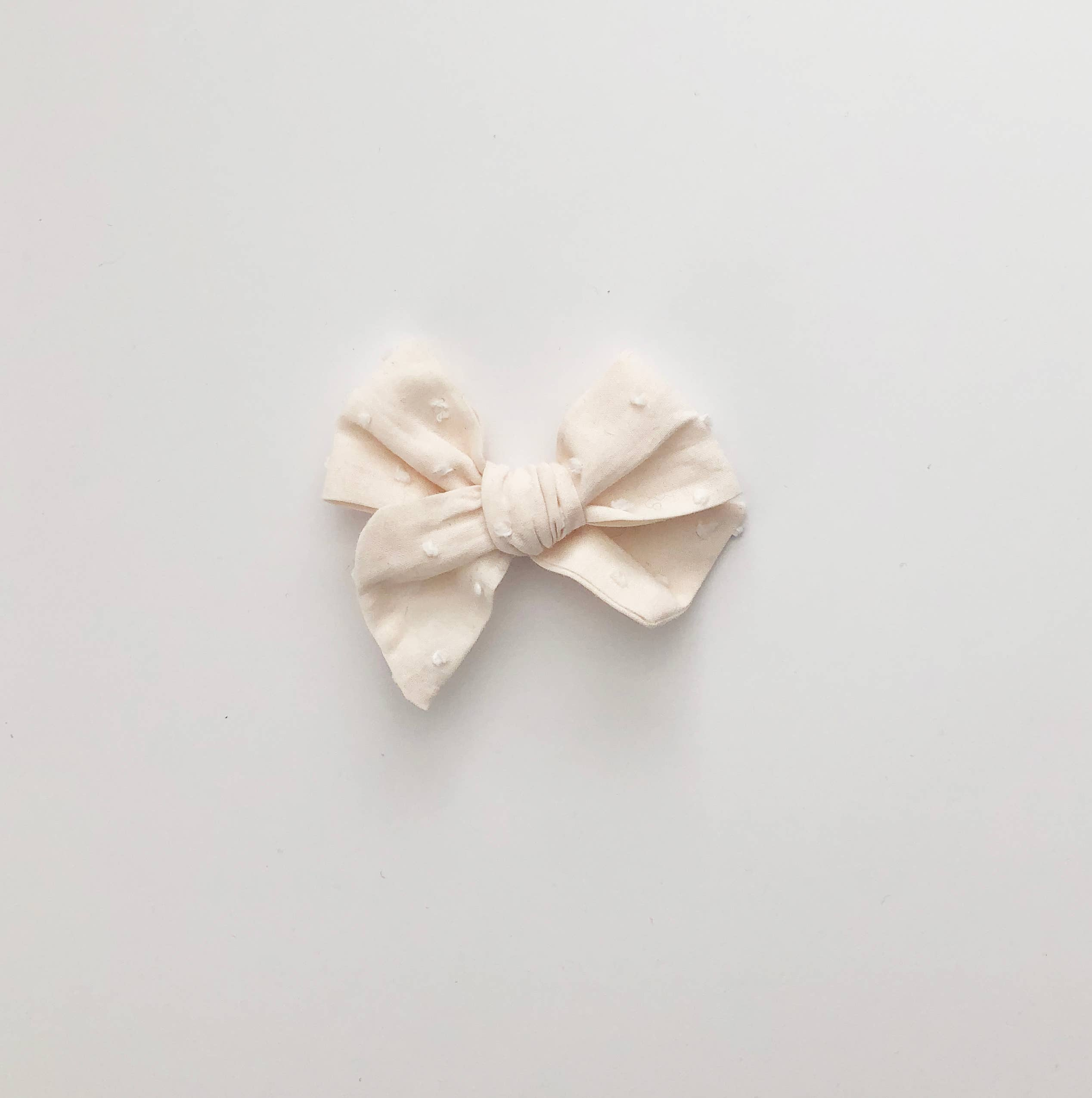 Hand Tied White Swiss Dot Coral Solid Fabric Hair Bow Clips Peach Floral