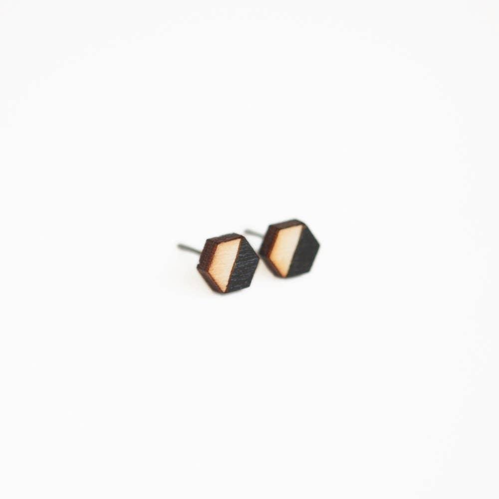 Wood earrings Unisex earrings 3 pairs of wood earrings 8 mm studs 7 mm studs 9 mm studs Mens earrings Wood stud earrings
