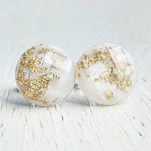 Classic Denim Blue with Gold-Flakes Earrings Titanium Hypoallergenic Posts